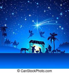 vektor, christmas nativity táj