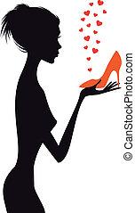 vektor, cipő, nő, mód, piros