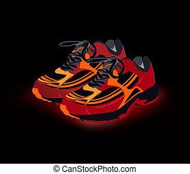 vektor, cipők, sneakers., sport