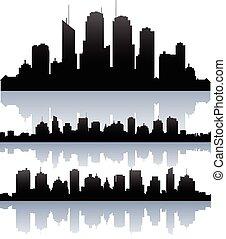 vektor, cityscape, láthatár, buidlings, árnykép