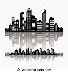 vektor, cityscape, láthatár, buidlings, noha, visszaverődés