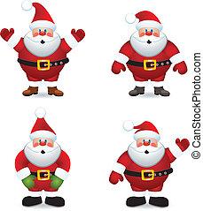 vektor, claus, sätta, jultomten