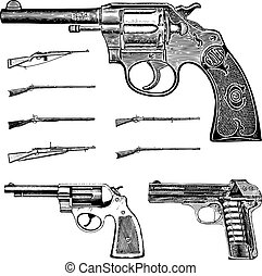 vektor, clipart, weinlese, pistole, gewehr, und, gewehr,...