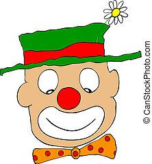 vektor, -, clown, lycklig