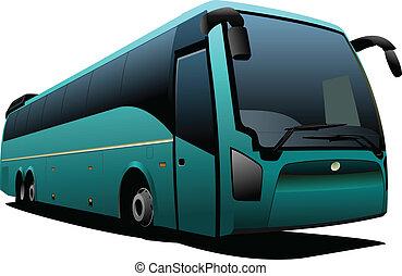 vektor, coach., zöld, bus., természetjáró