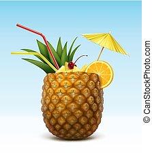 vektor, cocktail, ananas