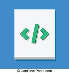 vektor, code, blatt, ikone