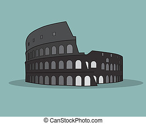 vektor, colosseum, illustration., rom