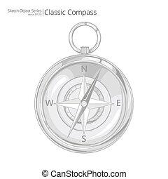 vektor, compass.