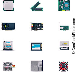 vektor, computerteile, ikone, satz