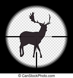 vektor, cross., őz, kilátás, gyakorlatias, vadászat, kicsapongó élet, látszó, üldöz, intentional, vagy, karabély, természet, vad, ábra