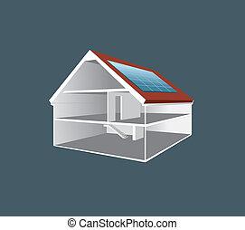 vektor, cross-section, hus, affattelseen