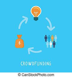 vektor, crowdfunding, begriff, in, wohnung, stil