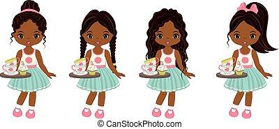 vektor, csészék, tálca, amerikai, csinos, kevés, cupcakes, lány, tea, afrikai