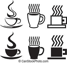 vektor, csésze, kávécserje letesz, ikonok