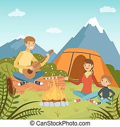 vektor, család sátortábor, természet, nagy, erdő, háttér, ábra, hegy.