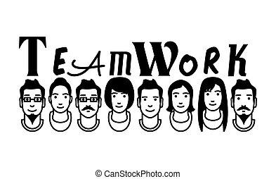 vektor, csapatmunka, avatars