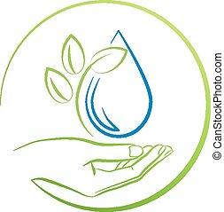 vektor, csepp, kéz, levél növényen, ábra, fogalom, víz