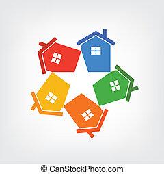 vektor, csoport, közül, épület, alakítás, egy, rétegfelhő