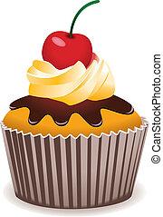 vektor, cupcake, med, körsbär