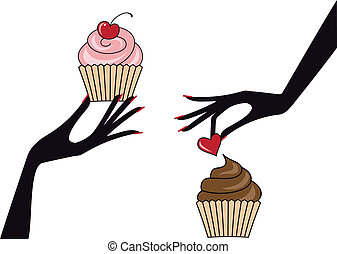 vektor, cupcakes, hände