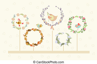 vektor, cute, kranse, blomstrede, fugle