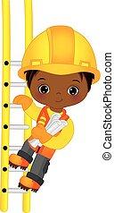 vektor, cute, liden, afrikansk amerikanske dreng, klatre...