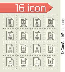 vektor, dát, dokumentovat, ikona