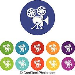 vektor, dát, ikona, barva, kamera, video