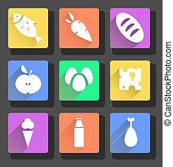 vektor, dát, o, byt, food ikona