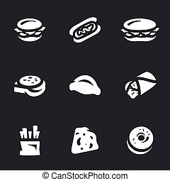 vektor, dát, o, hustě food, icons.