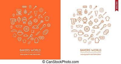 vektor, dát, o, pekařství, moderní, byt, hubený, ikona,...
