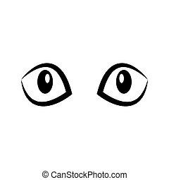 vektor, dírka, kočka, illustration., black-white