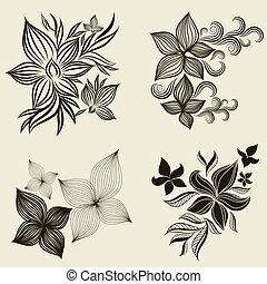 vektor, díszlet tervezés, virág, elem