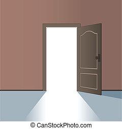 vektor, dörr, öppnat