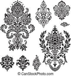 vektor, damask, ornamentere, sæt
