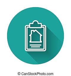 vektor, dannelse, kontrakt, cirkel, ansøgning, shadow., længe, hvid linje, button., grønne, oprettelse, form, tjeneste, dokument, isoleret, composition., ikon hus