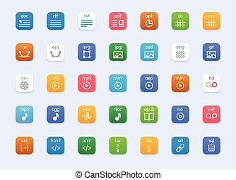 vektor, datei, arten, ikone, satz