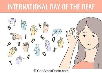 vektor, deaf-mute, abeceda, s, rukopis, pohyb, dát