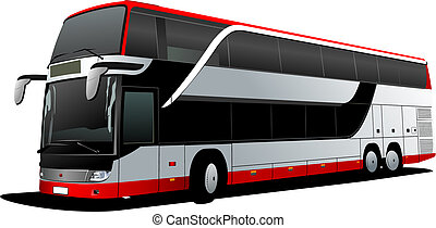 vektor, decker, coach., dubbel, röd, bus., illustration, ...