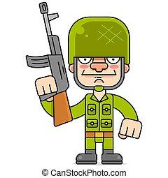 vektor, dein, soldat, gewehr, weißer hintergrund, design
