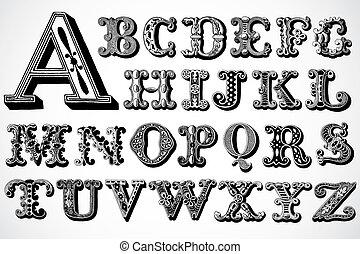 vektor, dekoratív, betűtípus, állhatatos