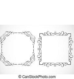 vektor, dekoratív, keret