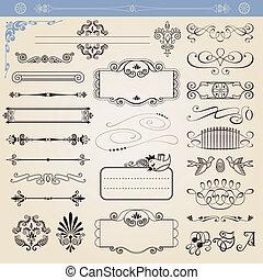 vektor, dekorationen, calligraphic