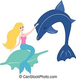 vektor, delfin, havfrue, illustration