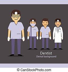 vektor, dentist., sæt, cartoon, illustration