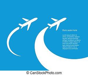 vektor, design, airplane, ikon