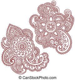 vektor, design, blomma, doodles, henna