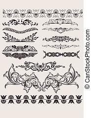 vektor, design, calligraphic, set:, ele