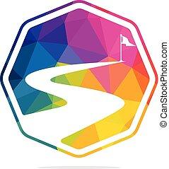 vektor, design., framgång, väg, logo